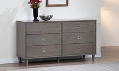 Contemporary Bedroom Dresser 6 Drawer Storage Chest Charcoal Gray Furniture New #Unbranded #Contemporaryrusticmodern