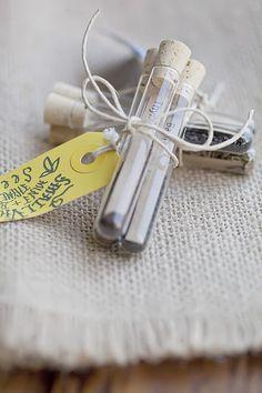 Great gift idea for garden friends. Packaging seeds in test tube vials. Wedding Favor Sayings, Unique Wedding Favors, Unique Weddings, Gift Wedding, Wedding Ideas, Wedding Souvenir, Wedding Cake, Wedding Decor, Wedding Stuff