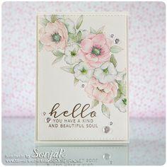 "handgemachte Karte, Freundschaftskarte | handmade card, friendship card - WPlus9 ""Kind Soul"", Create A Smile Stamps ""Double Stitched Rectangles"", Pretty Pink Posh ""Sparkling Clear Sequins"", Schmincke Horadam Aquarellfarben"