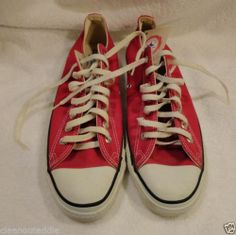 Vintage Converse Red Chuck Taylor Oxfords Made in USA New No Box Circa 1970s | eBay