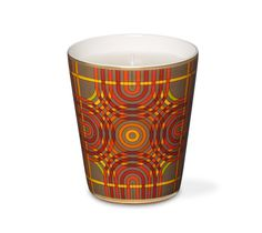 "Spirographie Hermes candle, unscented. Printed porcelain cup with ""Spirographie"" pattern, velvet goatskin base. Measures 3.7"""