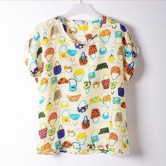 Fun Orange New fashion chiffion Batwing Short Sleeve Shirts women Loose Shirt tops plus size S-XL casual T-Shirt