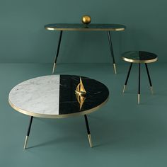 Bethan Gray created a collection of tables with marble tops wrapped in bands of brass
