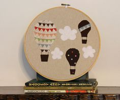 Hot Air Balloon Hoop for Vintage Girl Nursery. Can also put old quilt pieces in hoops instead of frames