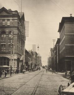View looking West of Alabama Street, near its intersection with Pryor Street in downtown Atlanta. c. 1890