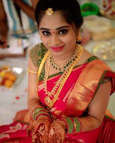 Sumamakeupartist: gorgeous bride @sowmya_reddy46 on her engagement ceremony makeover by @suma_makeuparitist #glowingskin #makeupbyme💄 #eye…