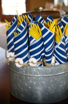 Cottage Charm ~ Nautical ~ Yellow, White and Blue Nautical themed party. Navy Party, Nautical Party, Nautical Food, Anchor Party, Baby Shower Themes, Baby Boy Shower, Shower Ideas, Fete Laurent, Baby Shower Marinero