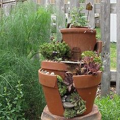 Recycling broken Pottery :: Hometalk.  So clever, but don't if I have the patience and I'm not much into succulents.....Love it just the same!