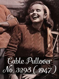 Free vintage knitting pattern: Cable Pullover No. 3298 (1947) - By Gum, By Golly