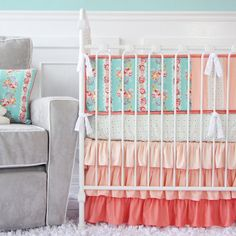 Hey, I found this really awesome Etsy listing at http://www.etsy.com/listing/167684420/lovely-coral-lace-baby-bedding-3-pc