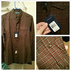 Men's Polo Brand new with tags! It looks vintage in real life, the colors are mossy green, gray, red, and black! Bottom right picture looks a lot brighter than the shirt really is! Polo by Ralph Lauren Tops