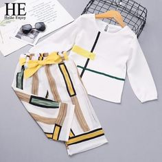 Hello Enjoy Girls Clothing Sets New Spring Fashion Long Sleeve Splicing Design T-shirt+Casual pants Girls Clothes Outfit Baby Outfits Newborn, Toddler Outfits, Baby Boy Outfits, Toddler Girls, Enjoy Girl, Boys And Girls Clothes, Girls Summer Outfits, Princess Outfits, Warm Outfits