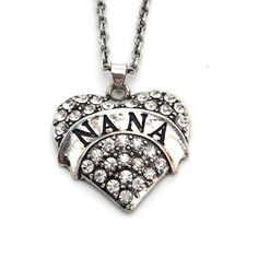 Retro Nana Silver Heart Pendant Necklace Rhinestone Jewelry