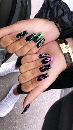 Halloween Acrylic Nails, Acrylic Nails Coffin Short, Simple Acrylic Nails, Best Acrylic Nails, Acrylic Nail Designs, Coffin Nails, Long Nail Designs, Summer Acrylic Nails, Edgy Nails