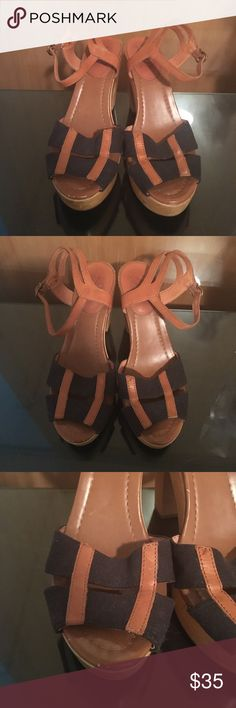 76b25155d95 Madewell Strappy Sandals Leather and canvas strappy wooden heeled sandals.  Heel height is 4.25