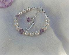 Baby's First Birthstone Bracelet-Initial Baby Bracelet-Newborn Jewelry on Etsy, $24.00