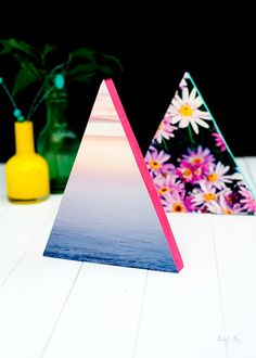 Display your favorite photos with inventive neon triangle frames.