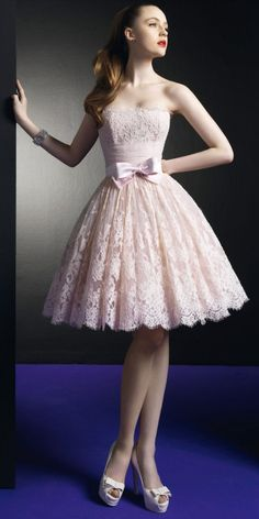 NEW HOT Pink Strapless Short Lace Evening Prom Dress Wedding Party Gown #wedding #dress www.loveitsomuch.com