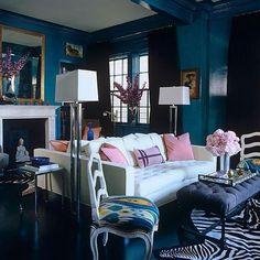 Light Blue walls, a modern white sofa and a zebra rug complete this Hollywood Regency living room--image via Decor and You HR H Design, Design Blog, House Design, Design Ideas, Design Trends, Interior Design Photos, Home Interior, Interior Modern, Modern Sofa