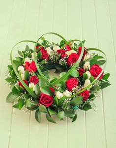 Red and white rose funeral wreath