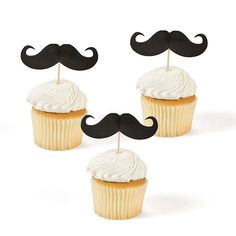 Effortlessly take your cupcakes from dull to dapper!ᅠ The Moustache Party Picks add the perfect amount of panache to your desserts and appetizers.ᅠ Each posh pick features a black handlebar moustache