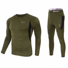 Outdoor Tactical Sports Thermal Underwear Lovers Suit Round Collar Elastic Long Johns