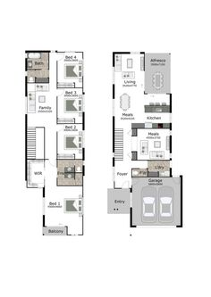 Floor Plan Friday: Narrow but large 2 storey home | Living spaces ...