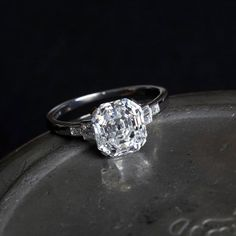 One of our favorites has found a new home. 4.09ct antique emerald cut diamond ring. #joganibh.com