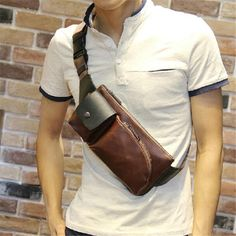 Men's Shoulder Bags Vintage Style Leather Messenger Bag For Man High Quality Chest Bags XKB15#