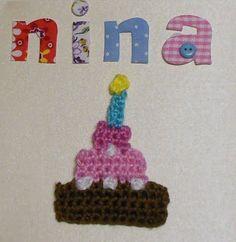 deborah haakt: patroon gehaakte taart voor op verjaardagskaart