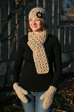 Adult Hat, Scarf, and Mittens Set