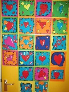 great lesson.. could possible do something beside heart.. halloween or mother's day themes?? KGA? Kids Artists: In the style of Burton Morris