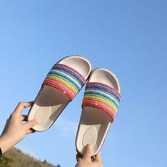 db196fdf0 Platform Slippers Rainbow Glitter Slide Sandals PU27