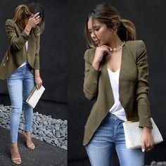 ZARA Military Khaki Flowy Waterfall Blazer Jacket with Zips XS Extra Small 6 8 | eBay Vest Outfits For Women, Casual Work Outfits, Blazer Outfits, Work Attire, Cute Outfits, Blazer Fashion, Khaki Leather Jacket, Blazer With Jeans, Zara Blazer