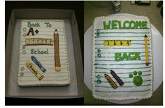 Back to School Cake.  Made this for the Teachers' Luncheon.