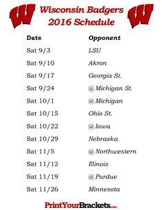Printable Wisconsin Badgers Football Schedule 2016