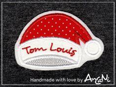 Aufnäher - Aufnäher Weihnachtsmütze mit Namen ♥ Weihnachten - ein Designerstück von AnCaNi bei DaWanda
