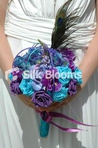 Beautiful Purple, Turquoise & Aqua Rose & Iris Wedding Bouquet