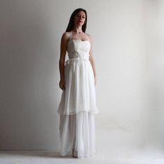 FLORA - Hippie Boho wedding dress , beach wedding dress, tiered wedding dress, silk chiffon wedding dress