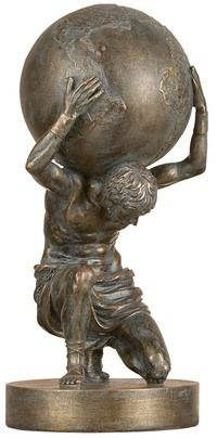 "FIGURINES /""WEIGHT OF THE WORLD/"" ATLAS SCULPTURE CARRYING AN ETCHED GLASS GLOBE"