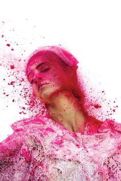 "fantastic color splash ""color me crazy"" by Sarah St. Clair Renard 2010-06 for Holi article in Yen mag; model Carla@LA Models; makeup Devin Joplin (via TrendLand.com)"