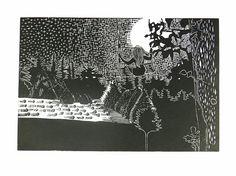 Moonlight over half moon bay, girl, swing, night, landscape, North California, linocut, print, hand-pulled, black & white, Ellen Von Wiegand