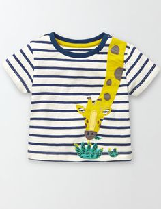 We're bringing the zoo to baby (because they probably can't crawl that far just yet). This animal-toting T-shirt is super colourful and soft, and the striped cotton is hard-wearing, so it's built to withstand all sorts of spills.