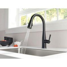 Delta Essa Touch2O Technology Single Handle Pull Down Sprayer Kitchen Faucet  In Matte Black