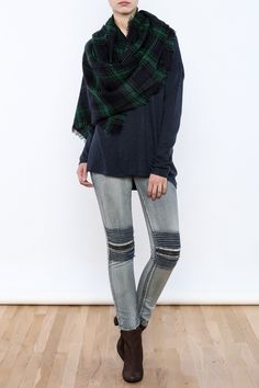 Green and blue plaid scarf with fringe at the ends.  Plaid Scarf by David & Young. Accessories - Scarves & Wraps New York City