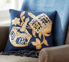 Hanukkah Dreidel Crewel Embroidered Pillow