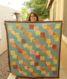 Falling Charms Quilt with Kaffe Fassett charms - made it for my Mom's birthday tomorrow :)