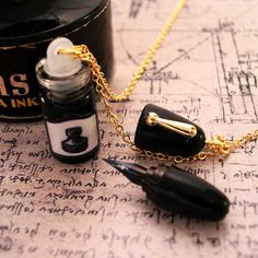 """""""Working Fountain Pen Necklace""""- Cool, but you'd need to fill it with ink so often"""