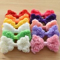 Bows made of Floral Chiffon are good matches for headbands,hairclips,and barrettes.They can be used
