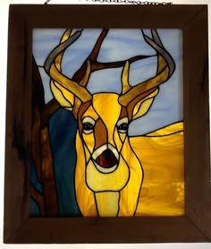 """Stained Glass Panel """"Big Buck"""". $120.00, via Etsy."""